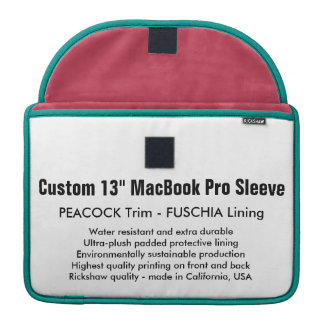 "Gewohnheit 13"" MacBook Pro-Hülse - Pfau u. Fuschia MacBook Pro Sleeves"