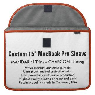 "Gewohnheit 15"" MacBook Pro-Hülse - Mandarine u. MacBook Pro Sleeve"