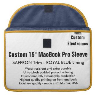 """Gewohnheit 15"""" MacBook Pro-Hülse - Safran u. Blau MacBook Pro Sleeves"""