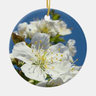 Gewohnheit des Frühlings-Kirschblüten-weiße blauen Rundes Keramik Ornament