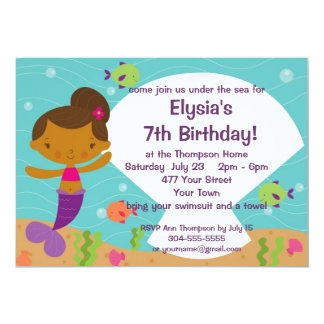 Gewohnheit scherzt Meerjungfrau-Geburtstags-Party 12,7 X 17,8 Cm Einladungskarte