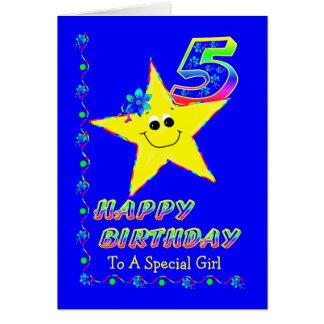 Gewohnheits-5. Geburtstags-Sterne für Mädchen Grußkarte