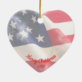 Gewohnheits-datierte WeihnachtsLiebe USA-Flagge Keramik Ornament