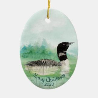 Gewohnheits-datiertes WeihnachtsAquarellgemeiner Keramik Ornament