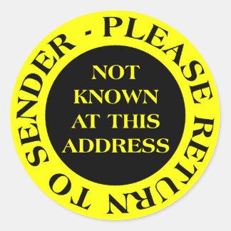 Gewusst nicht an dieser Adresse - Gelb II Runder Aufkleber