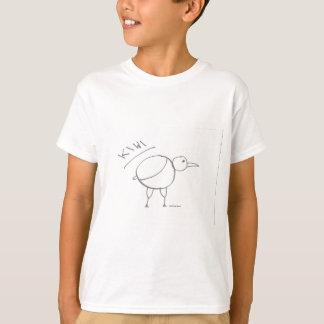 gezeichneter Entwurf des Kiwivogels Hand durch T-Shirt