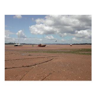 Gezeiten- Liegeplätze. Auf den Strand gesetzte Postkarte