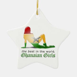 Ghanaische Mädchen-Silhouette-Flagge Keramik Stern-Ornament
