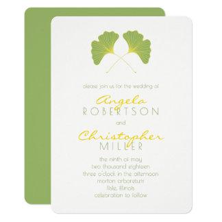 Ginkgo-Frühlings-Grün verlässt Hochzeit 2 12,7 X 17,8 Cm Einladungskarte
