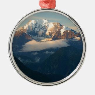 Gipfel-in-Morgenlicht Rundes Silberfarbenes Ornament