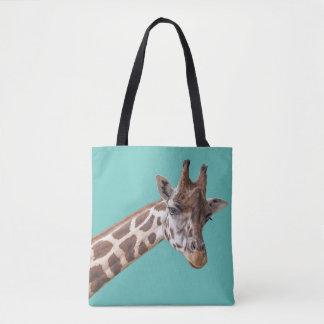 Giraffe auf aquamarinem Grün