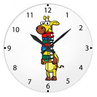Giraffe, die Bücher hält Große Wanduhr