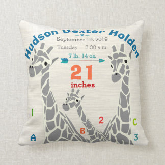 Giraffe Family Baby Boy Birth Record Birth Stats Kissen