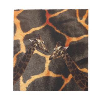 Giraffen auf exotischem Giraffen-Hintergrund, Notizblock