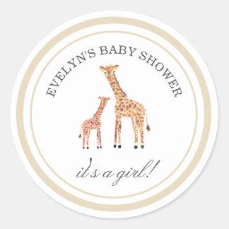 Giraffen-Babyparty-Aufkleber Runder Aufkleber
