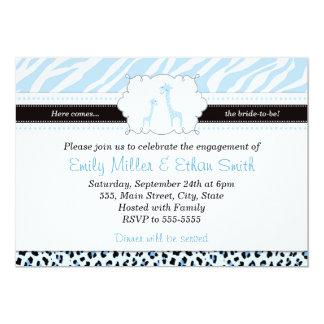 Giraffen-hellblaue Verlobungs-Einladung 12,7 X 17,8 Cm Einladungskarte