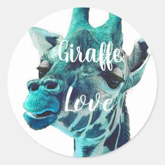 Giraffen-Liebe-Typografie oder Ihr Lieblingszitat Runder Aufkleber