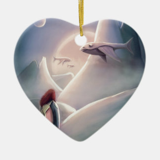 Girl hiking on the whal Alien planet of the flying Keramik Herz-Ornament