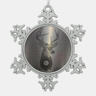 girly abstrakte Rotwildgeweih-Rotwild-Silhouette Schneeflocken Zinn-Ornament