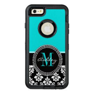 Girly Aqua-Schwarz-Damast Ihr Monogramm-Name OtterBox iPhone 6/6s Plus Hülle