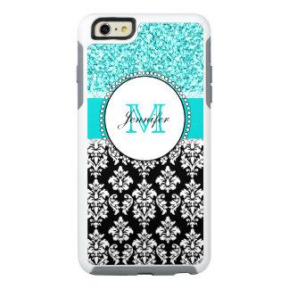 Girly, aquamarin, Glitter-schwarzer Damast OtterBox iPhone 6/6s Plus Hülle
