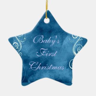 Girly Blau mit weißem Wirbel u. Locken Keramik Stern-Ornament