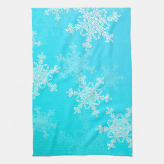 Girly blaues und weißes Weihnachtsschneeflocken Küchenhandtuch