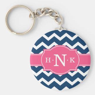 Girly blaues Zickzack rosa Monogramm Standard Runder Schlüsselanhänger