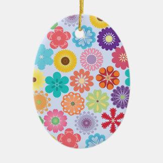 Girly Blumen-Power-buntes Blumenmuster Ovales Keramik Ornament