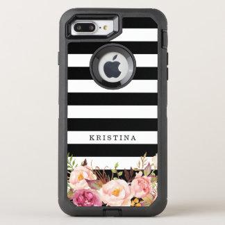 Girly Blumenklassische Schwarz-weiße Streifen des OtterBox Defender iPhone 8 Plus/7 Plus Hülle