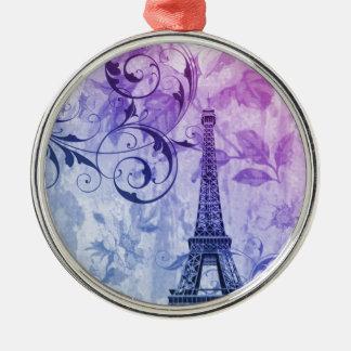 Girly Chic lila Blumenturm paris Eiffel Rundes Silberfarbenes Ornament