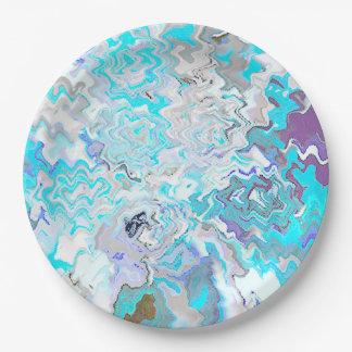 Girly Chic-moderne Kunst-blauer Pappteller