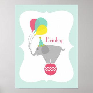 Girly Elefant + Ballon-Kinderzimmer-Grafik Poster