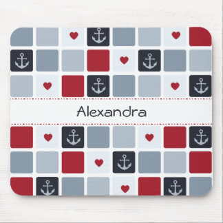 Girly Marine und rotes Anker-Herz-Muster mit Namen Mousepad