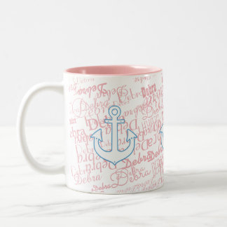 girly, nautisch u. mit individuellem Namen auf Zweifarbige Tasse