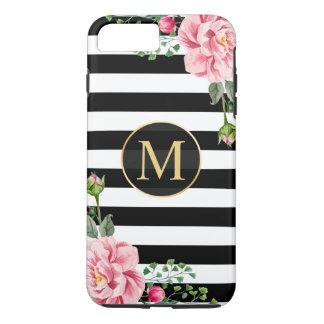 Girly romantische Blumen-Schwarz-weißes iPhone 7 Plus Hülle