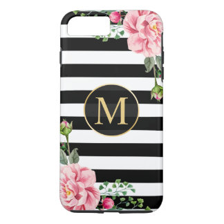 Girly romantische Blumen-Schwarz-weißes iPhone 8 Plus/7 Plus Hülle