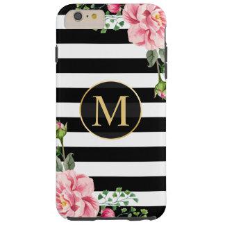 Girly romantisches Schwarz-weißes Streifen-mit Tough iPhone 6 Plus Hülle