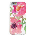 Girly rosa Aquarell-Blumenmuster Barely There iPhone 6 Hülle