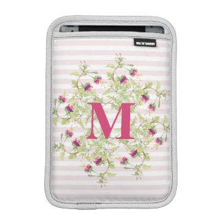 Girly rosa Boho BlumenRosen-Monogramm Sleeve Für iPad Mini
