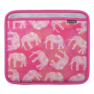 girly rosa buntes Stammes- Blumenelefantmuster iPad Sleeve