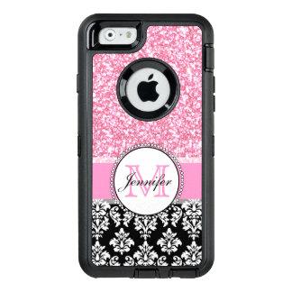 Girly, rosa, Glitter-schwarzer Damast OtterBox iPhone 6/6s Hülle