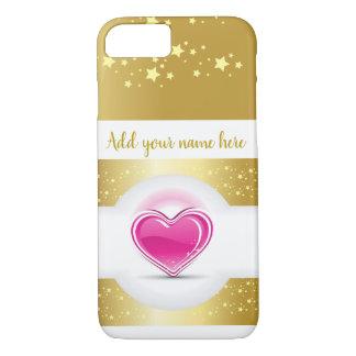 Girly rosa Herz mit Goldsternen iPhone 8/7 Hülle