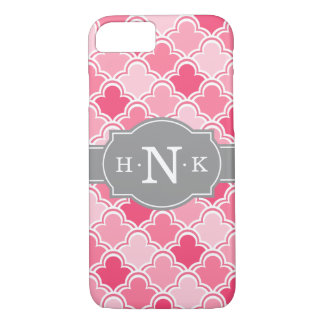 Girly rosa Kamm-Muschel-Muster-graue iPhone 7 Hülle
