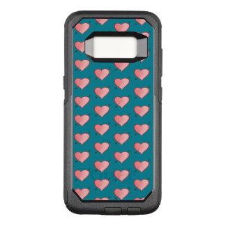 Girly rosa niedlicher Herz-Muster-Cartoon-Türkis OtterBox Commuter Samsung Galaxy S8 Hülle