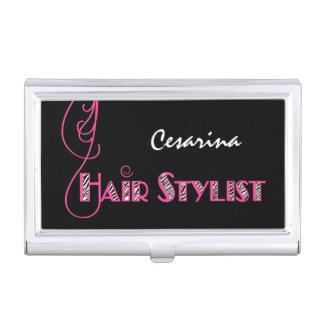 Girly rosa und schwarzer Zebra-Druck-Haar-Stylist Visitenkarten Etui