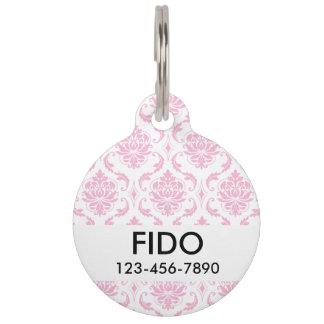 Girly rosa weißes Vintages Damast-Muster Tiermarken Mit Namen