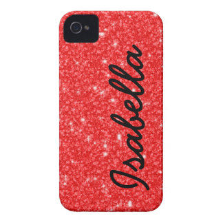 GIRLY ROTER GLITTER DRUCKPERSONALISIERTES iPhone 4 Case-Mate HÜLLE