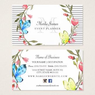 Girly Schmetterling mit Blumen und Visitenkarten