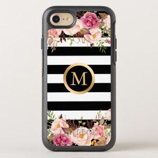 Girly Schwarz-weißer Streifen-Goldinitialen-mit OtterBox Symmetry iPhone 8/7 Hülle